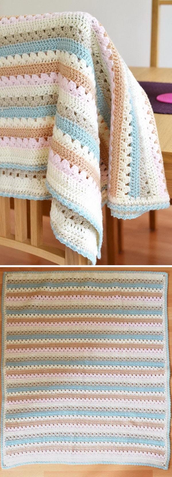 Cosy Stripe Blanket Free Crochet Pattern.