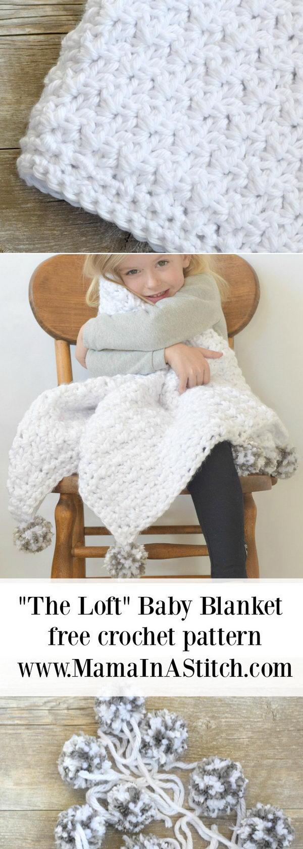 Pom Pom Baby Blanket Free Crochet Pattern.