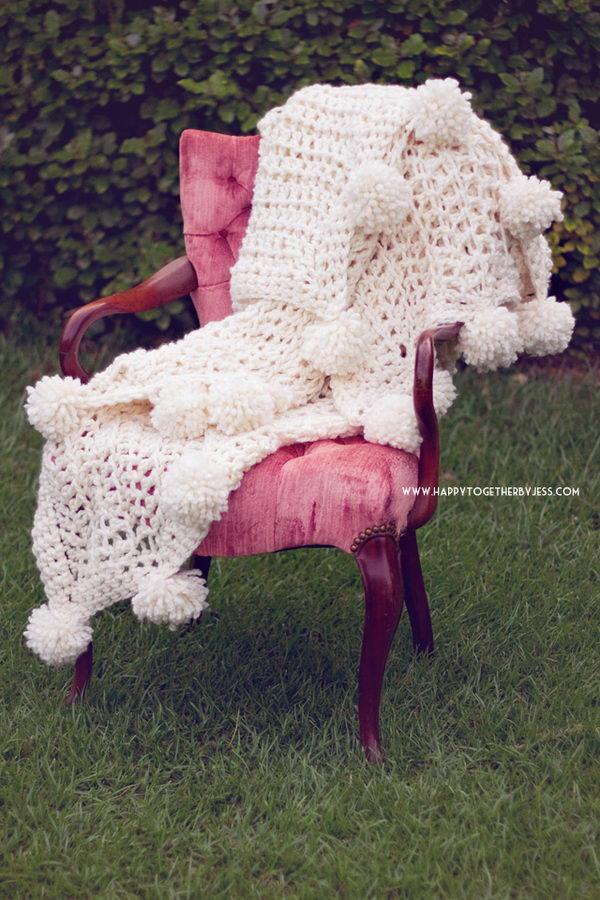 Pom Pom Blanket Free Crochet Pattern.