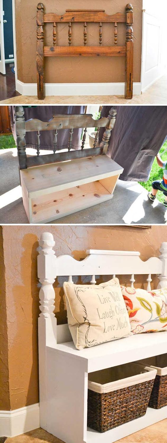 Entryway Bench Made From Old Headboard.