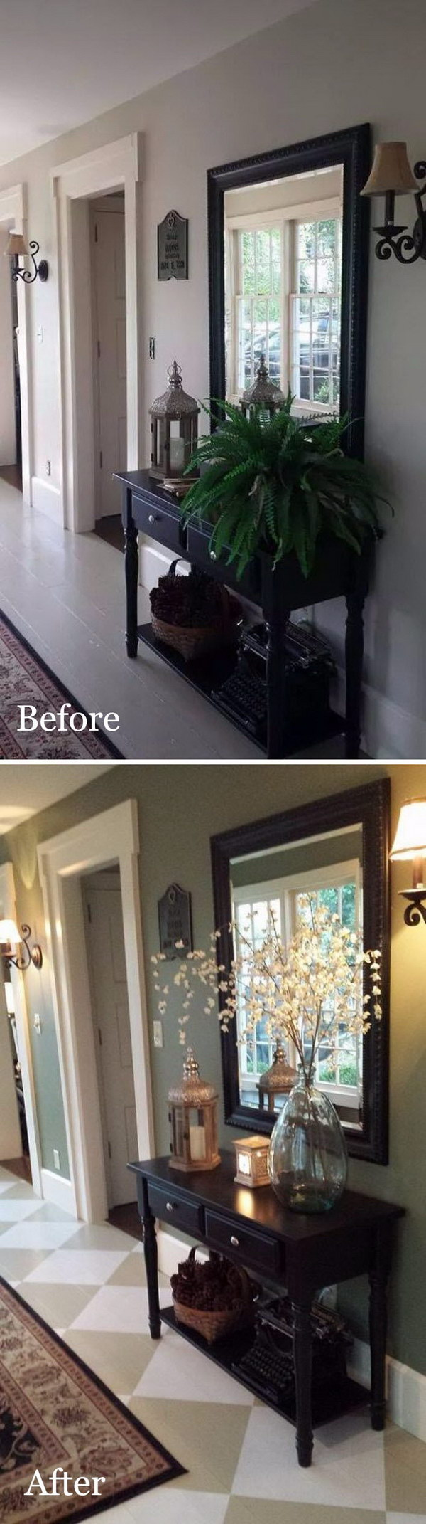 DIY Entryway Makeover with Painted Floor.