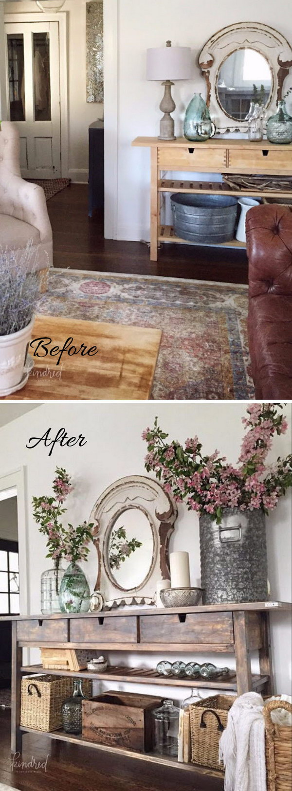 IKEA Norden Sideboard Makeover: A Distressed Console Adds A Rustic Vibe.