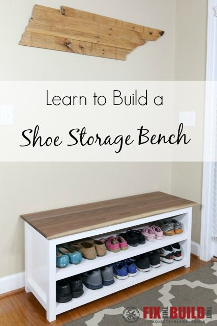 DIY Entryway Bench With Shoe Storage.