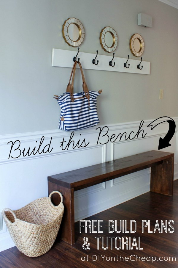 DIY Entryway Bench and Intresting Mirror Displaying.