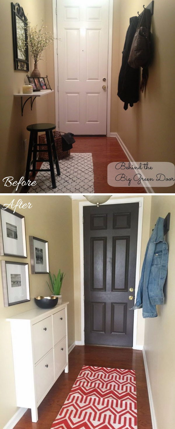 Narrow Entryway Makeover with an IKEA Shoe Cabinet.