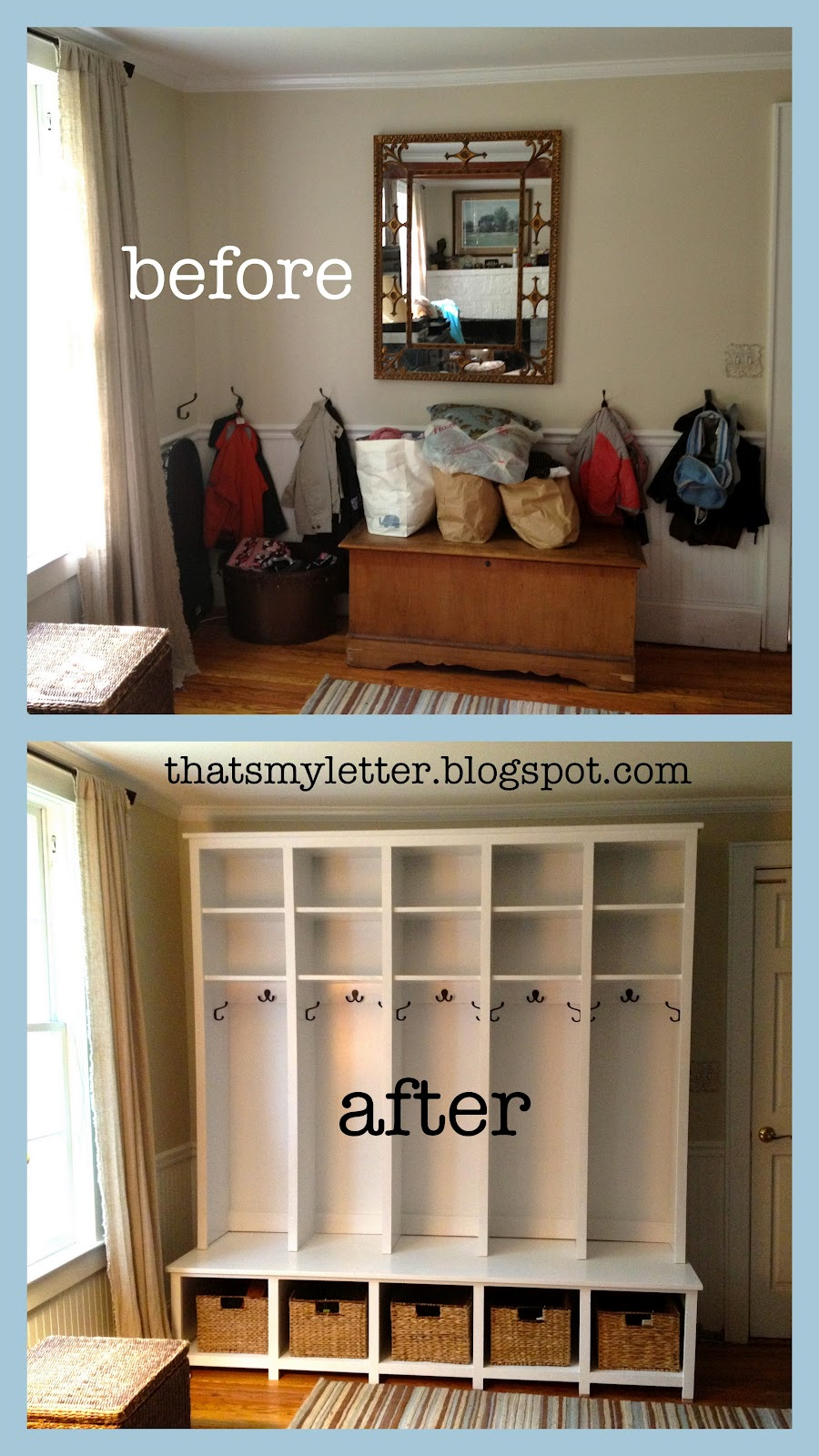 Entryway Bench Shelf With Hooks And Cubbies.