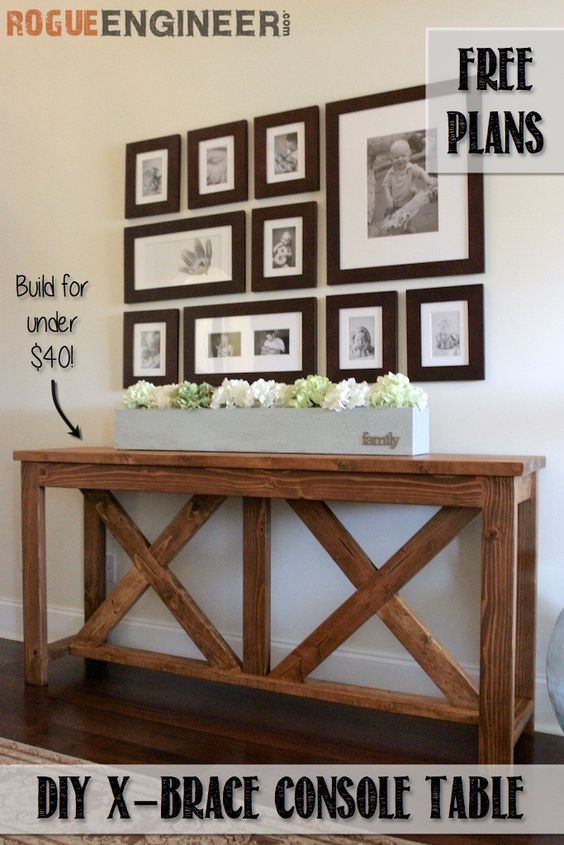 DIY X Brace Entryway Console Table.