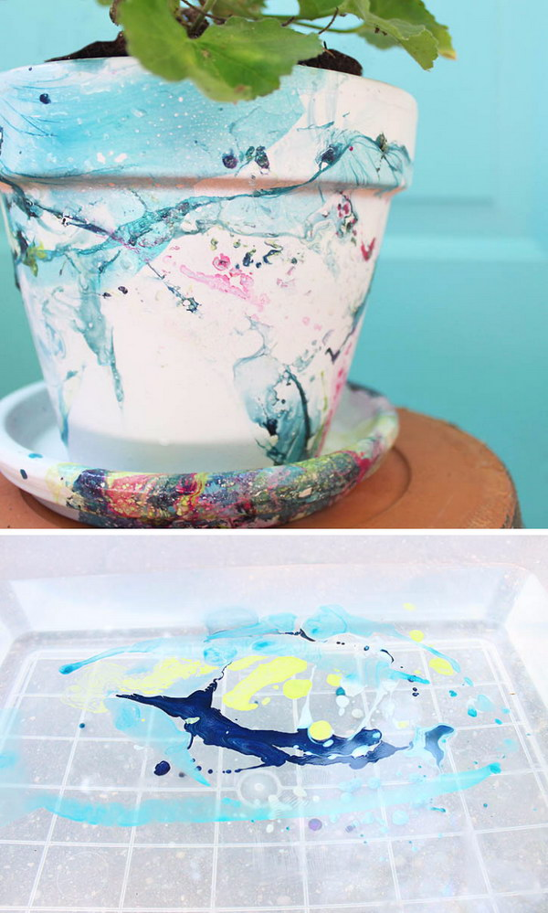 DIY Nail Polish Marbled Flower Pot With Saucer.