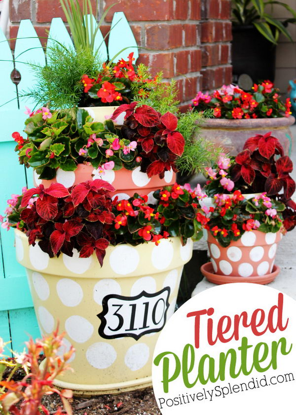 DIY Polka Dotted Tiered Planters