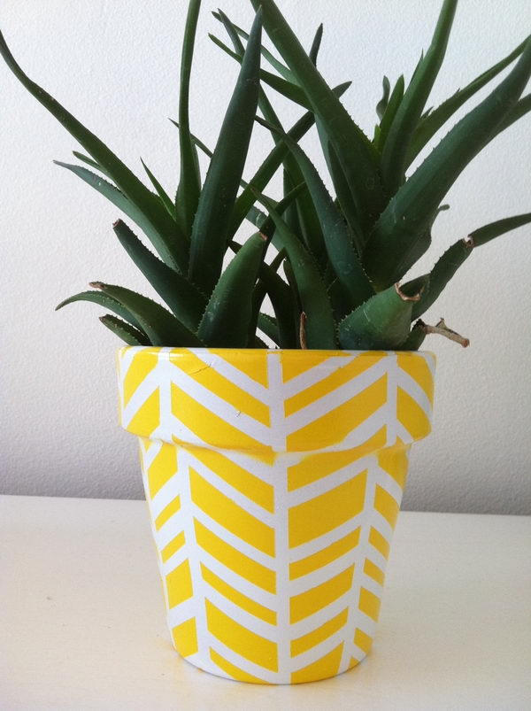 DIY Herringbone Flower Pots