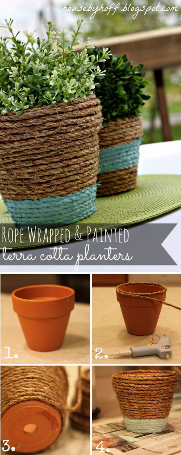 DIY Rope-Wrapped Flower Pots