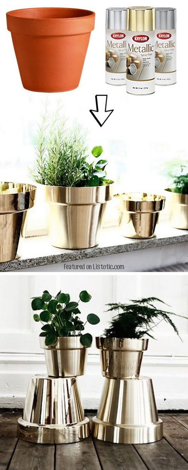 Spray Painted Metallic Flower Pots