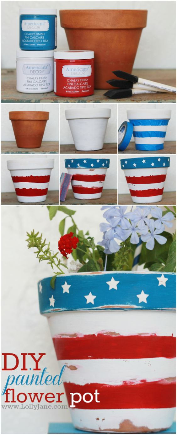 DIY Stars & Stripes Flower Pot