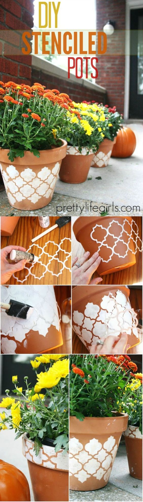 DIY Stenciled Flower Pots