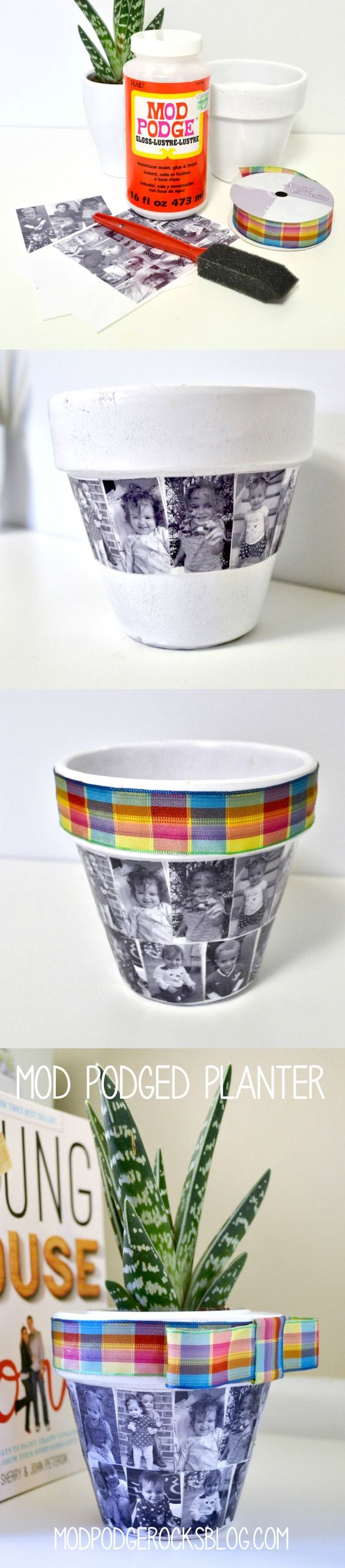 Mod Podge Photo Flower Pots