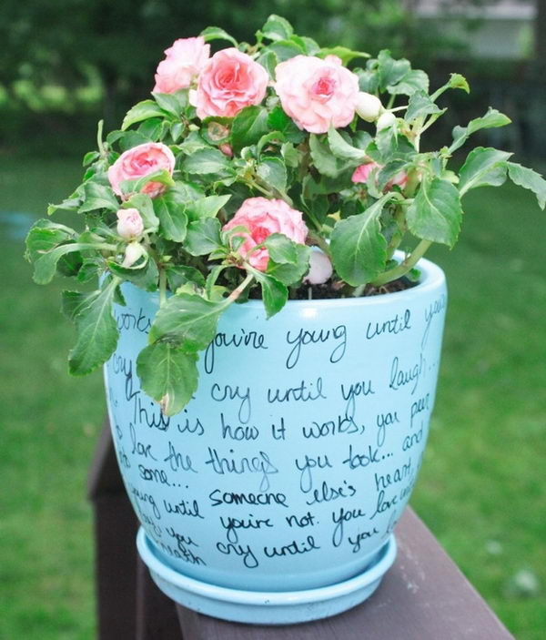 DIY Song Lyric Flower Pot