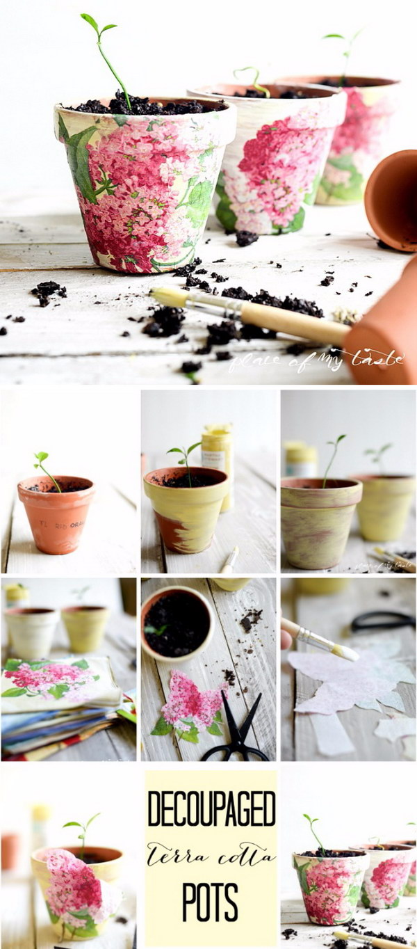 DIY Decoupaged Terra Cotta Pots