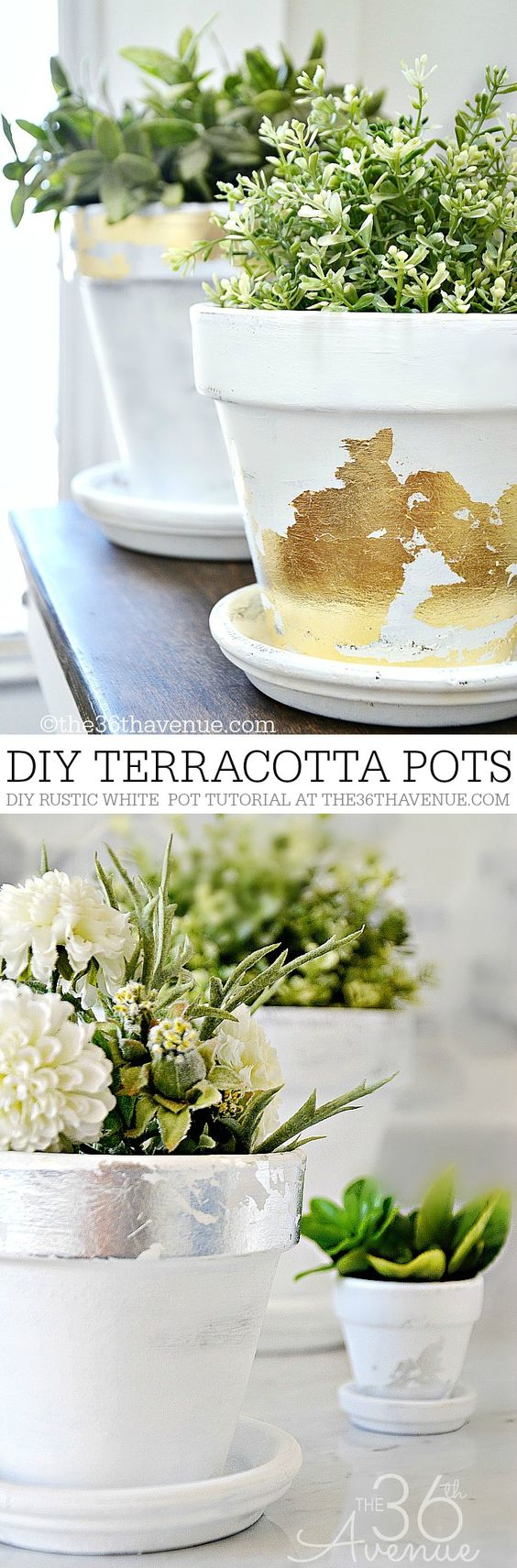 DIY Gold Leaf Terracotta Pots