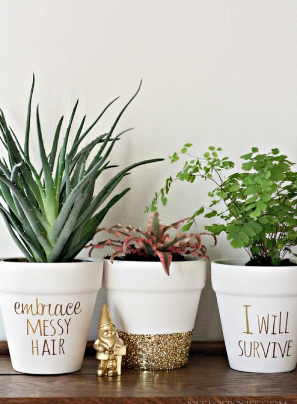 DIY Gold Foil Lettering On Flower Pots
