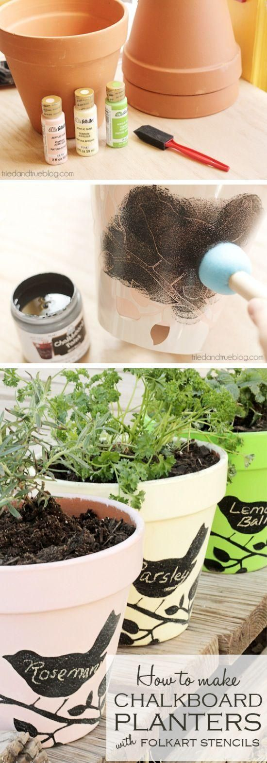 DIY Chalkboard Pots With Folkart Stencils And Paint