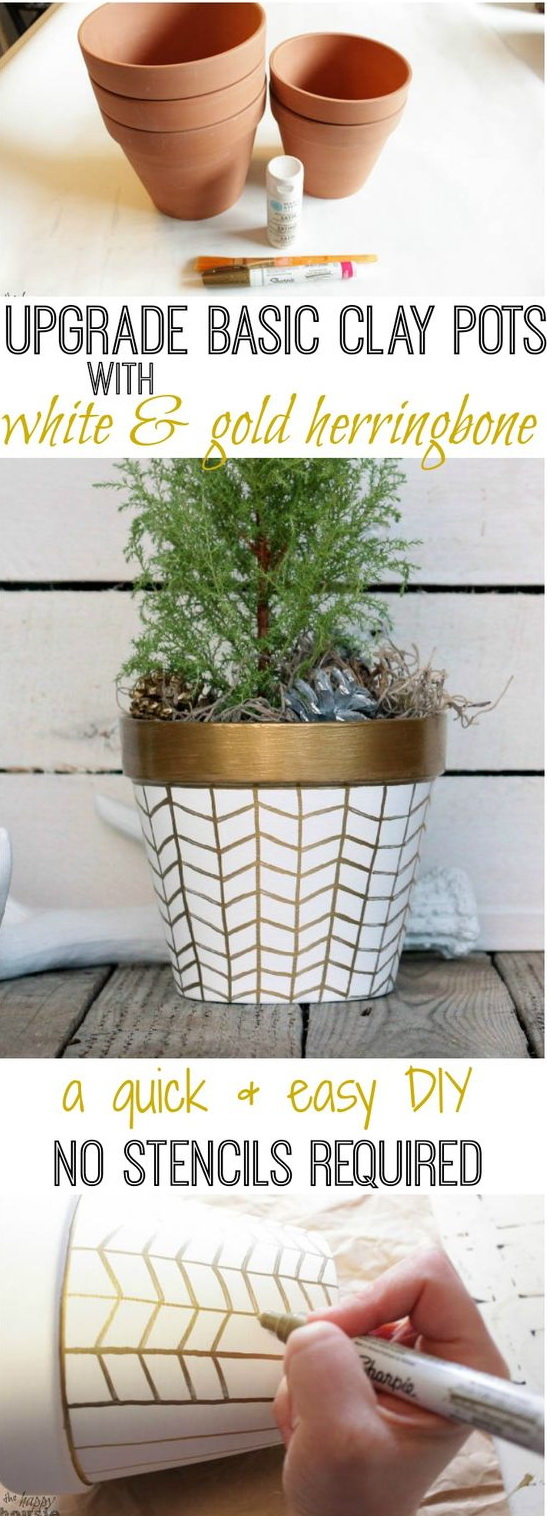 DIY Gold and White Herringbone Flower Pots