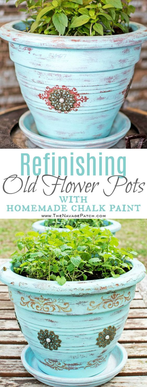 Refinishing Old Flower Pots With Homemade Chalk Paint.