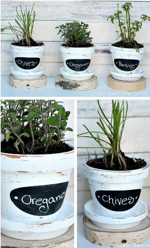 DIY Chalkboard Herb Pots