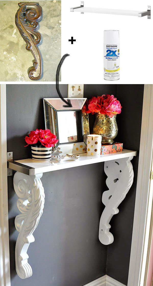 Easy DIY Corbel Foyer Table From IKEA Wall Shelf.