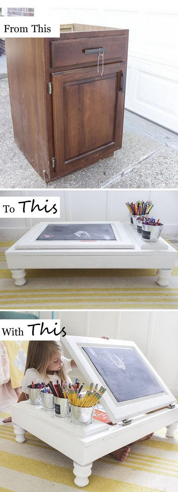 Kitchen Cabinet Into a Child's Desk.