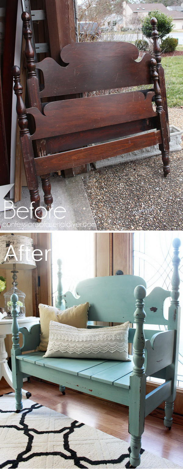 Old Headboard Repurposed Into A Bench.