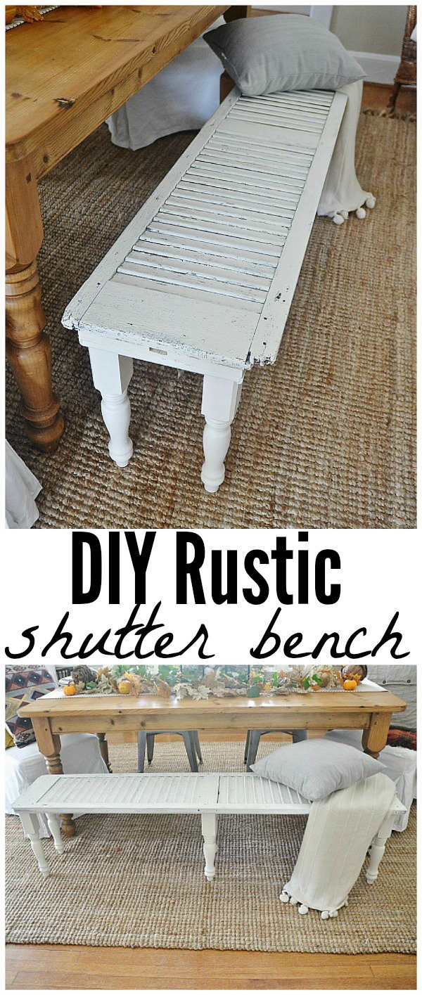 DIY Rustic Bench From an Old Shutter.