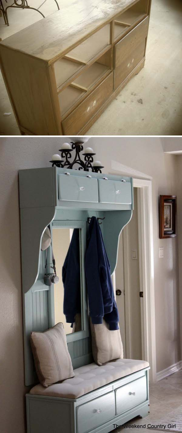 DIY Beautiful Mudroom Bench from an Old Dresser.