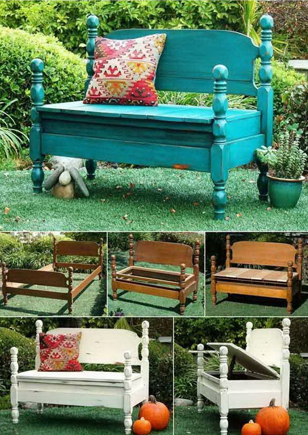 DIY Wonderful Benches from Old Beds.