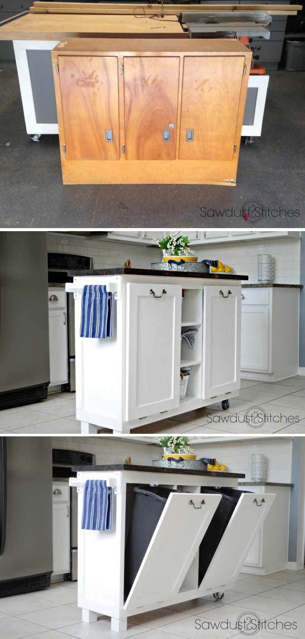 DIY Useful Kitchen Island from an Old Cabinet.