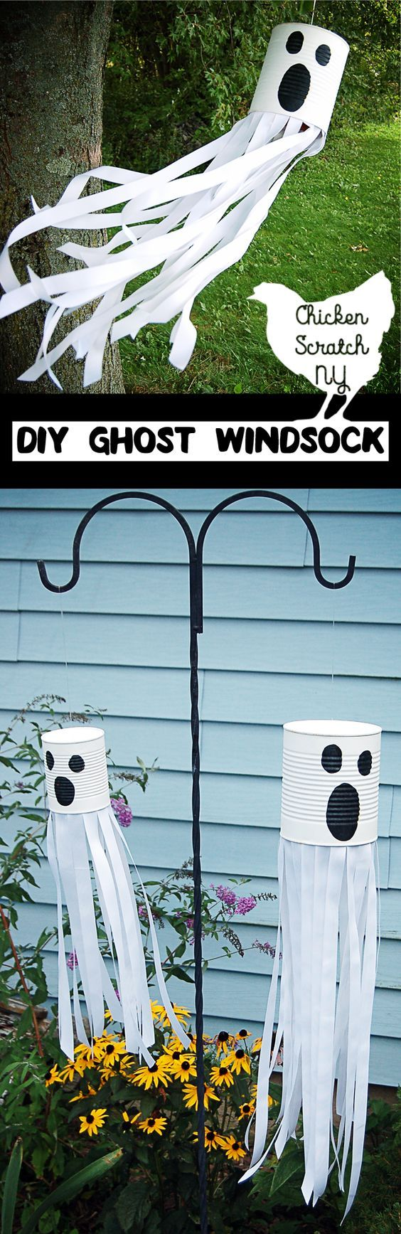 DIY Ghost Windsock With Ribbon.