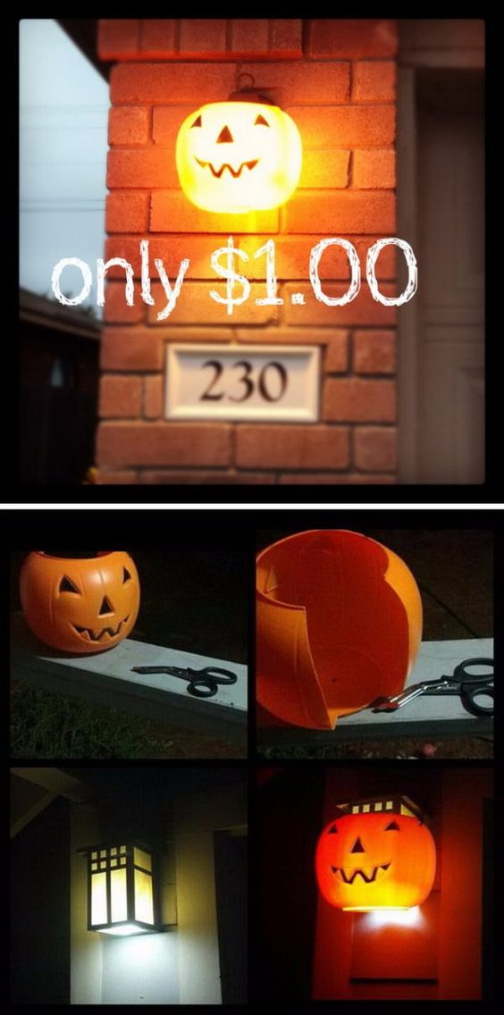 $1 Pumpkin Porch Light Cover.