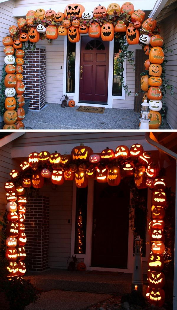 Illuminated Halloween Pumpkin Arch.