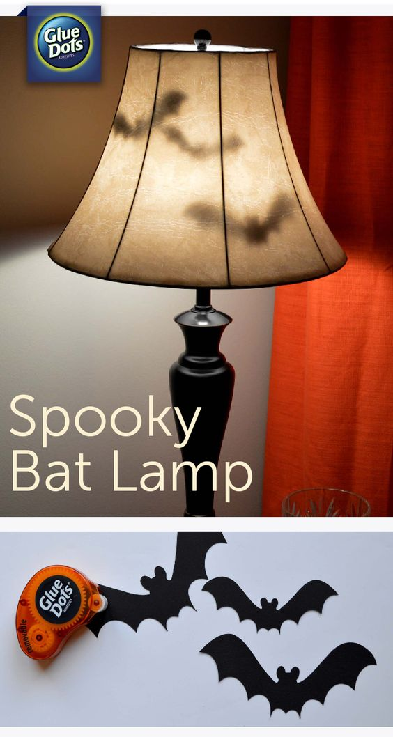 DIY Bat Lamp Using Paper Bats And Removable Gluedots.