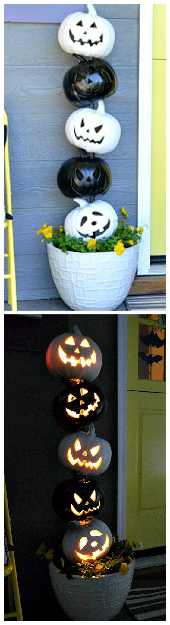 Easy Black And White Halloween Topiary.