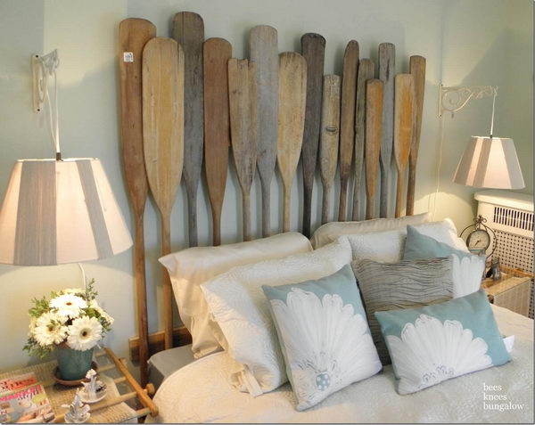 Vintage Oars Turned Nautical Headboard.