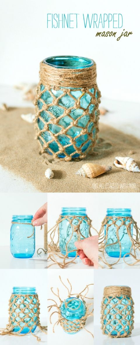 Fishnet Wrapped Mason Blue Mason Jar.