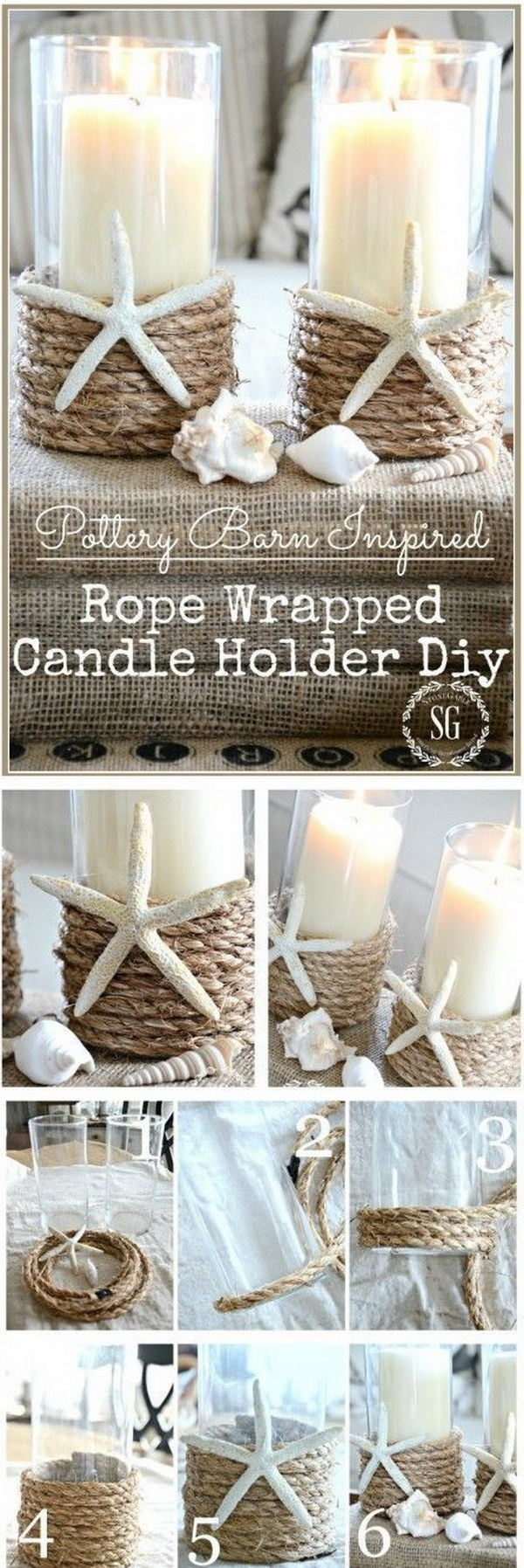 DIY Rope Wrapped Candle Holder.