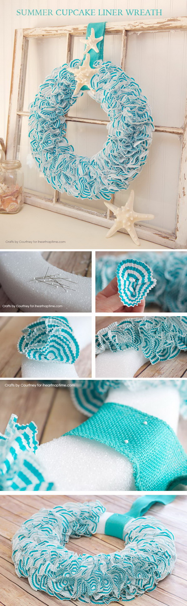 DIY Nautical Wreath With Cupcake Liners And Seashells.