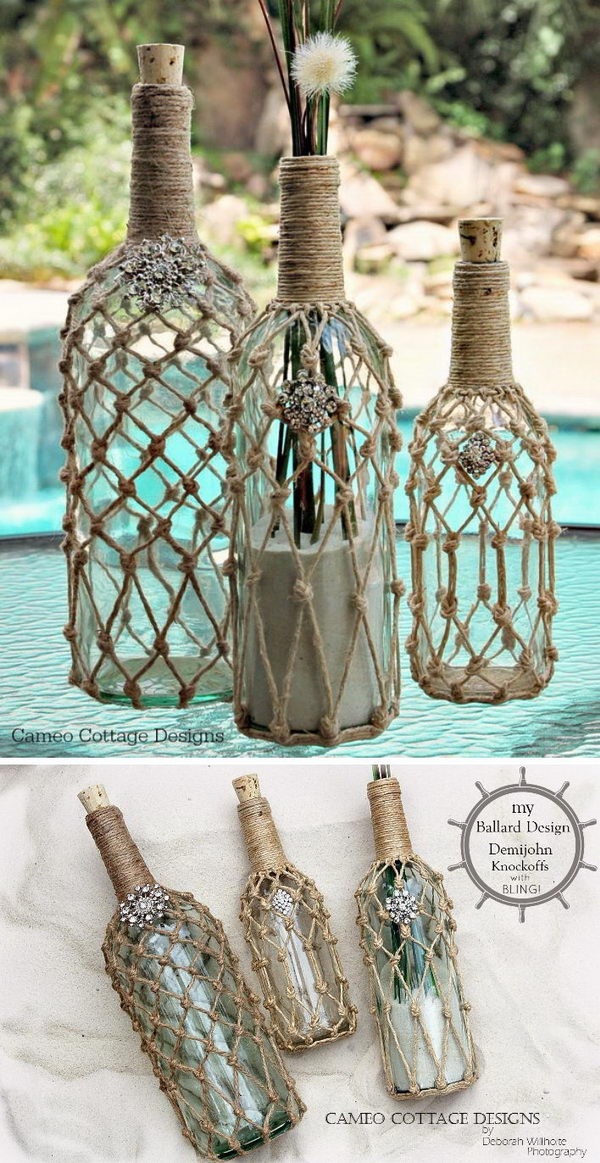 DIY Knotted Jute Net Bottles.