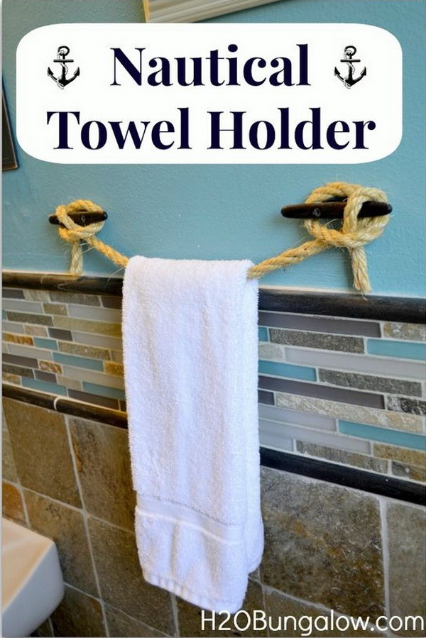 DIY Nautical Rope Towel Holder.
