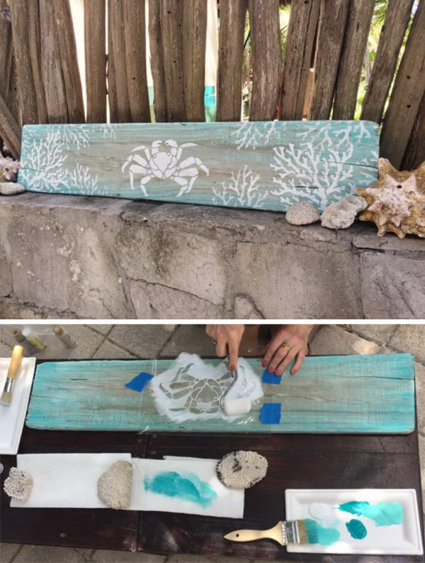 Driftwood with Nautical Stencils.