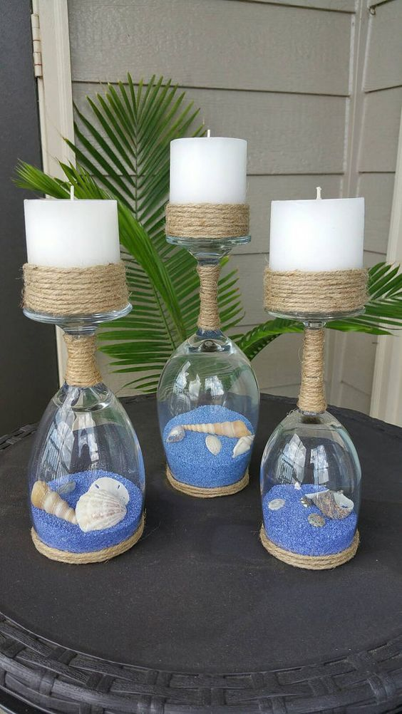 Seashell and Sand Wine Glass Candle Holders.