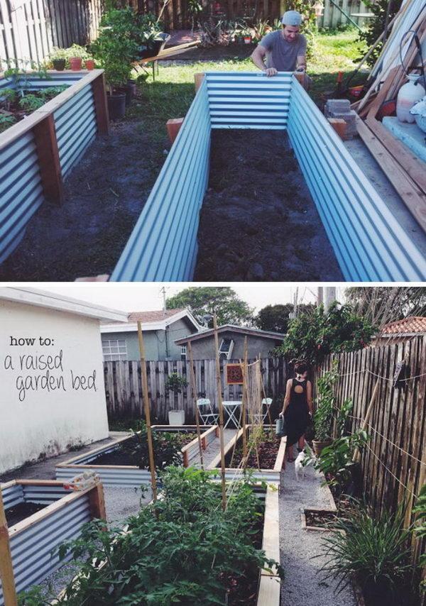 Easy Metal and Wood Garden Bed.