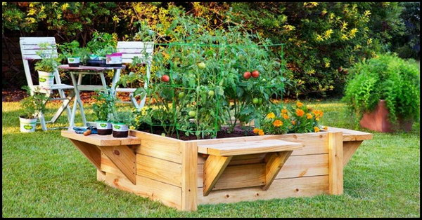 DIY Raised Garden Bed with Benches.
