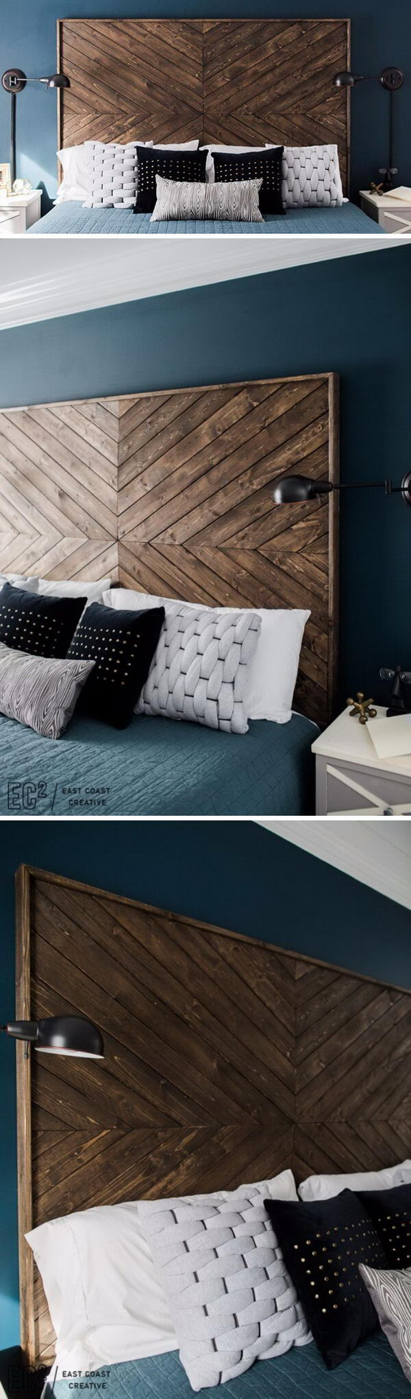Rustic Wood Chevron Pattern Headboard.